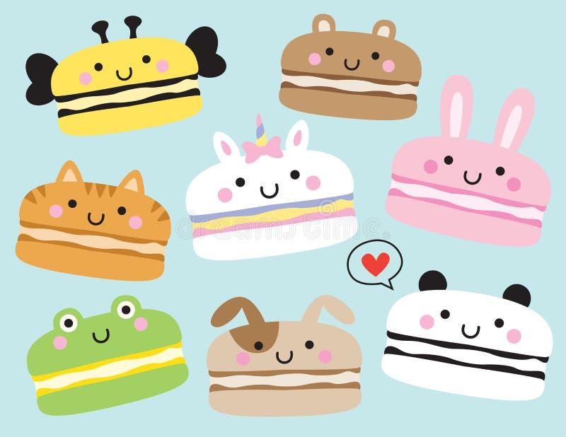 Ejemplo animal lindo del vector de Macarons stock de ilustración