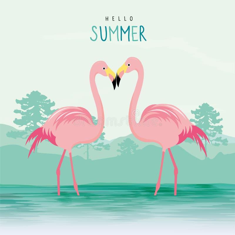 Ejemplo animal rosado del vector del personaje de dibujos animados del pájaro del flamenco ilustración del vector