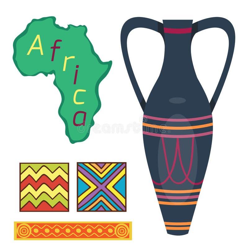 Ejemplo antiguo tribal del vector de la loza del florero de la cultura del arte del pote de cerámica decorativo étnico africano d libre illustration