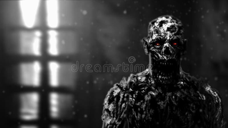 Ejemplo apocalíptico de la cara del zombi severo ilustración del vector