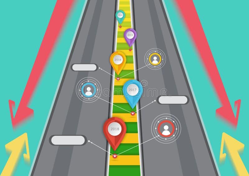 Ejemplo apuntado camino del vector del concepto del éxito empresarial ilustración del vector