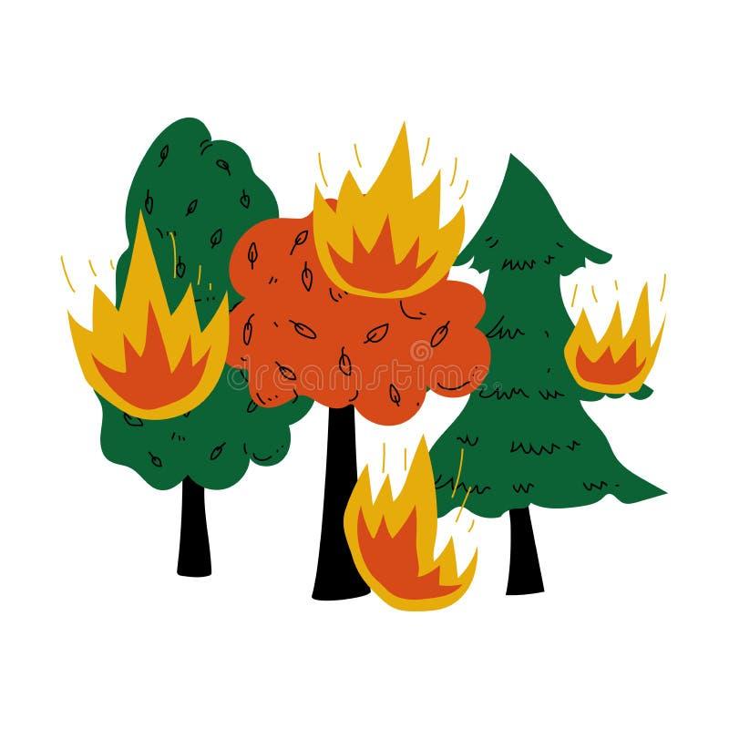 Ejemplo ardiendo del vector de Forest Wildfire Disaster Ecological Problem stock de ilustración