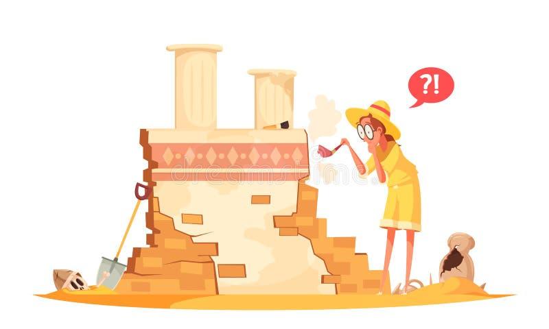 Ejemplo arqueológico de los trabajos de la arquitectura antigua libre illustration