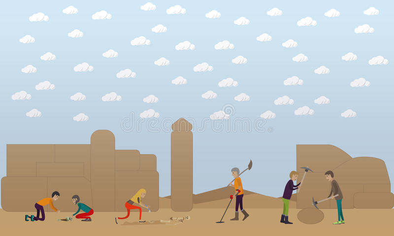 Ejemplo arqueológico del vector del concepto de la excavación en estilo plano libre illustration