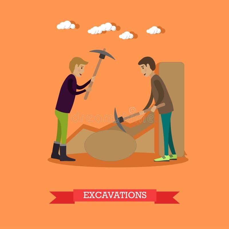 Ejemplo arqueológico del vector del concepto de las excavaciones en estilo plano libre illustration