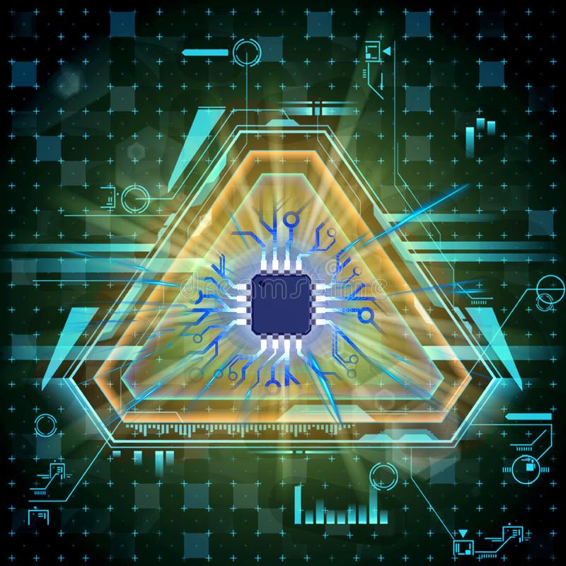 Ejemplo artístico abstracto 3d de ilustraciones multicoloras del procesador de Digitaces en un fondo moderno colorido libre illustration