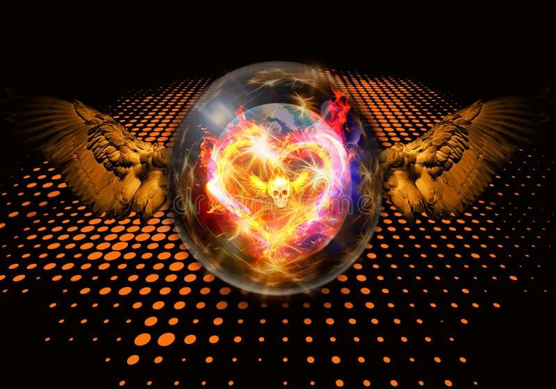 Ejemplo artístico abstracto de la representación 3d de un corazón ardiente único colorido moderno en ilustraciones de la bola de  libre illustration
