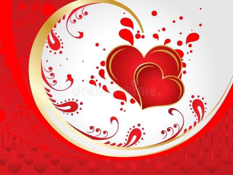 Ejemplo artístico abstracto del vector del corazón de la tarjeta del día de San Valentín imagenes de archivo