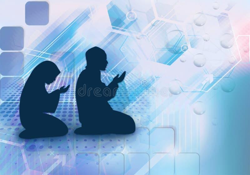 Ejemplo artístico de la representación 3d de un hombre musulmán y de una mujer que ruegan como fondo único de las ilustraciones ilustración del vector
