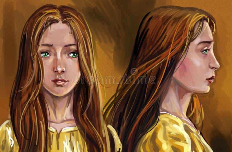 ejemplo artístico del bosquejo del retrato de dos hermanas adolescentes del tween stock de ilustración