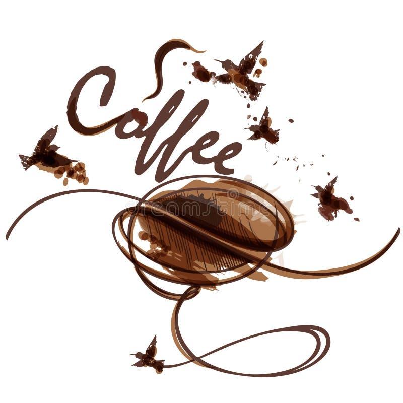 Ejemplo artístico del café del vector con la haba, los puntos y los pájaros libre illustration