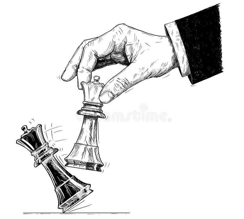 Ejemplo artístico del dibujo del vector de la mano que celebra al rey del ajedrez y que golpea abajo jaque mate ilustración del vector