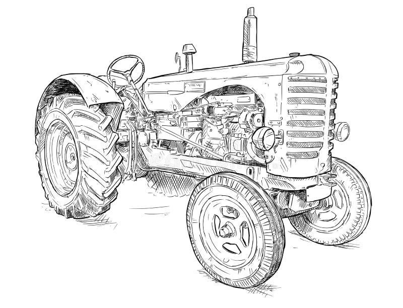 Ejemplo artístico del dibujo del vector del tractor viejo stock de ilustración