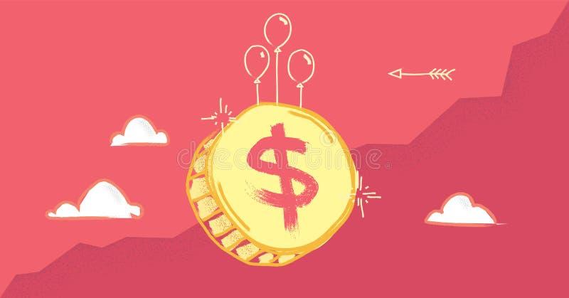 Ejemplo artístico del vector del concepto de la crisis financiera con la inflación de moneda del dólar ilustración del vector