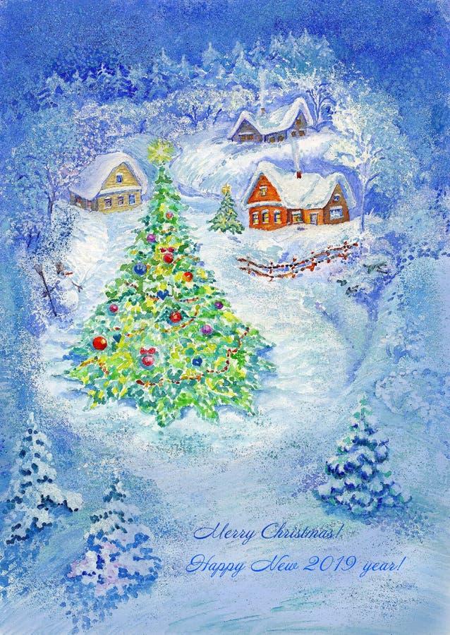 Ejemplo, arte, dibujo, acuarela, noche, pueblo, casas, invierno, árbol de navidad, azul, fondo, Año Nuevo, nieve, ilustración del vector
