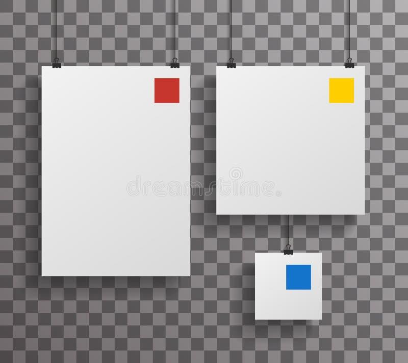 Ejemplo ascendente del vector del diseño de la pequeña del cartel del papel cuadrado A4 del icono de la plantilla de Transperent  stock de ilustración