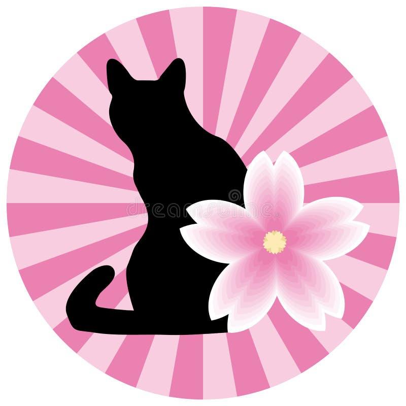 Ejemplo asiático del estilo con un gato y una flor ilustración del vector