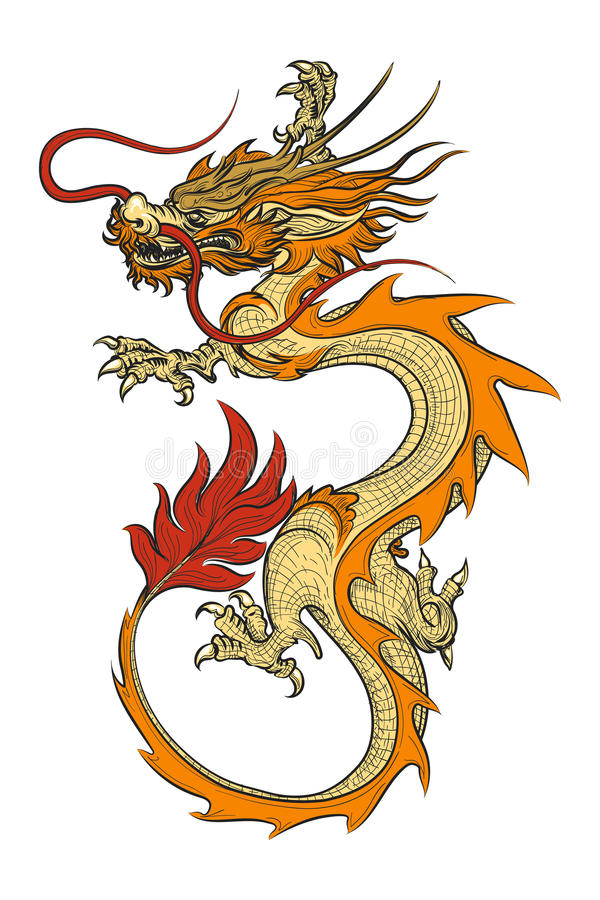 Ejemplo asiático del vector del dragón ilustración del vector