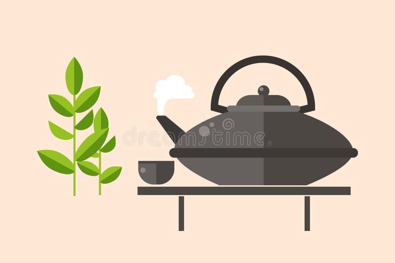 Ejemplo asiático tradicional del vector de la bebida de la ceremonia de té libre illustration