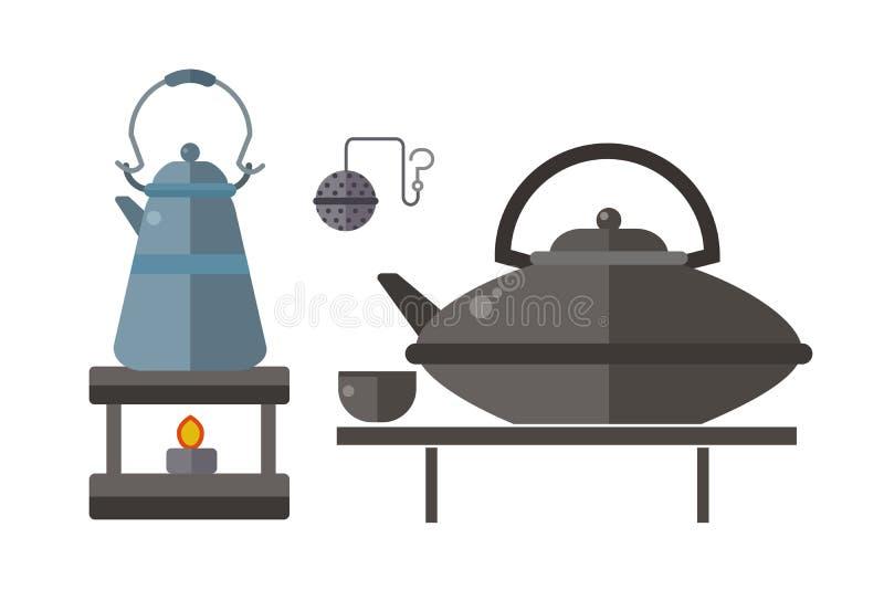 Ejemplo asiático tradicional del vector de la bebida de la ceremonia de té stock de ilustración