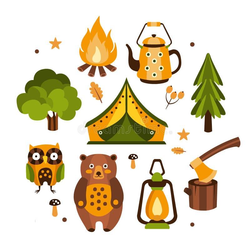 Ejemplo asociado de los símbolos que acampa stock de ilustración