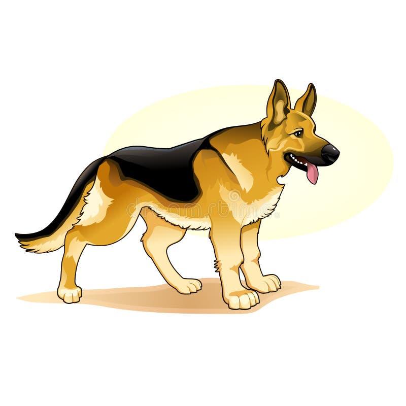 Ejemplo asombroso coloreado negro y amarillo del vector del perro La historieta linda persigue el ejemplo del perrito de los pane ilustración del vector