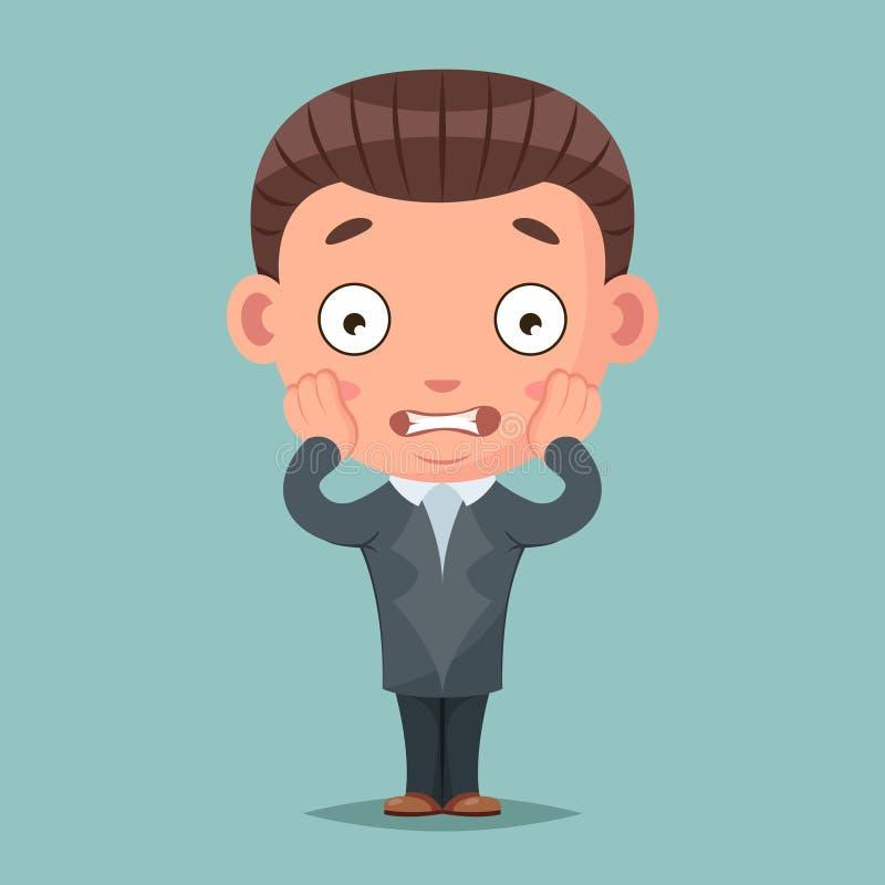 Ejemplo asustado del vector del diseño de la historieta del terror del miedo de la mascota del hombre de negocios del panick libre illustration