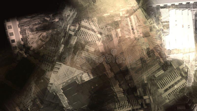Ejemplo atmosférico superficial de pintura urbano del terreno del espacio de la ciudad de la construcción del caos del extracto ilustración del vector