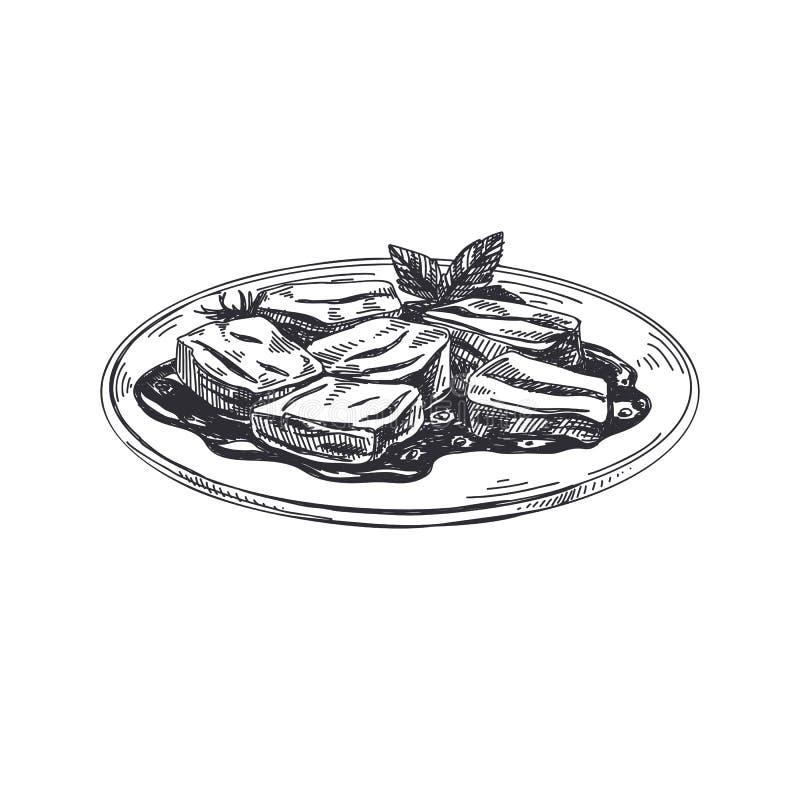 Ejemplo austríaco dibujado mano hermosa de la comida del vector ilustración del vector
