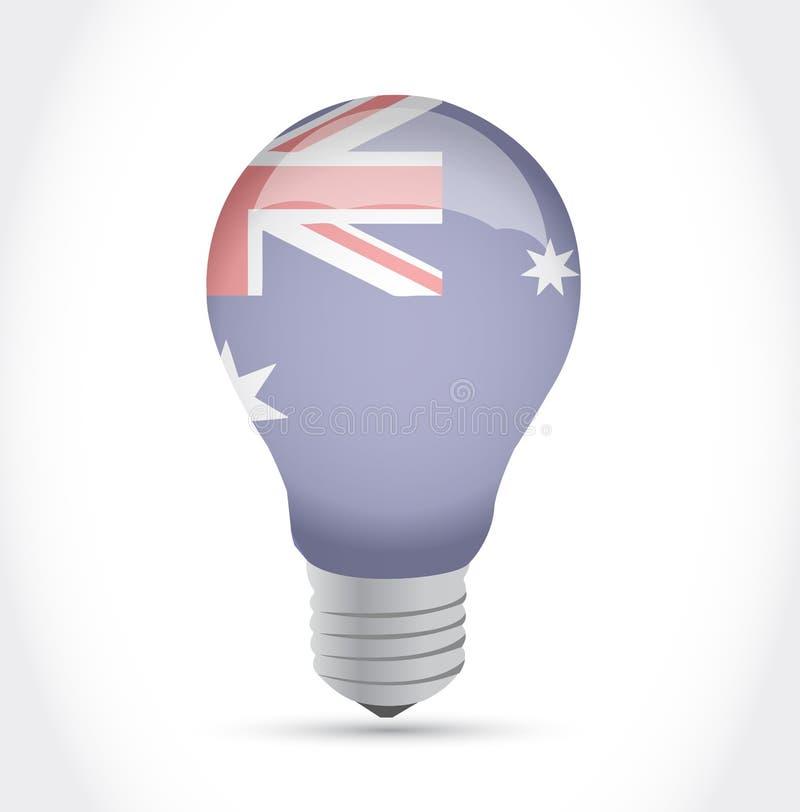 Ejemplo australiano de la bombilla de la idea de la bandera stock de ilustración