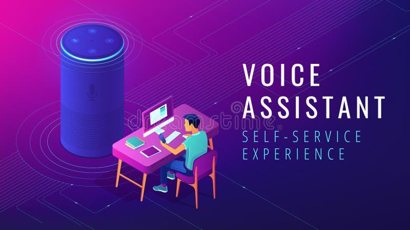 Ejemplo automatizado ayudante isométrico del servicio del uno mismo de la voz stock de ilustración