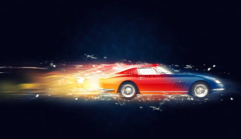 Ejemplo automotriz del extracto 3D del vintage colorido stock de ilustración