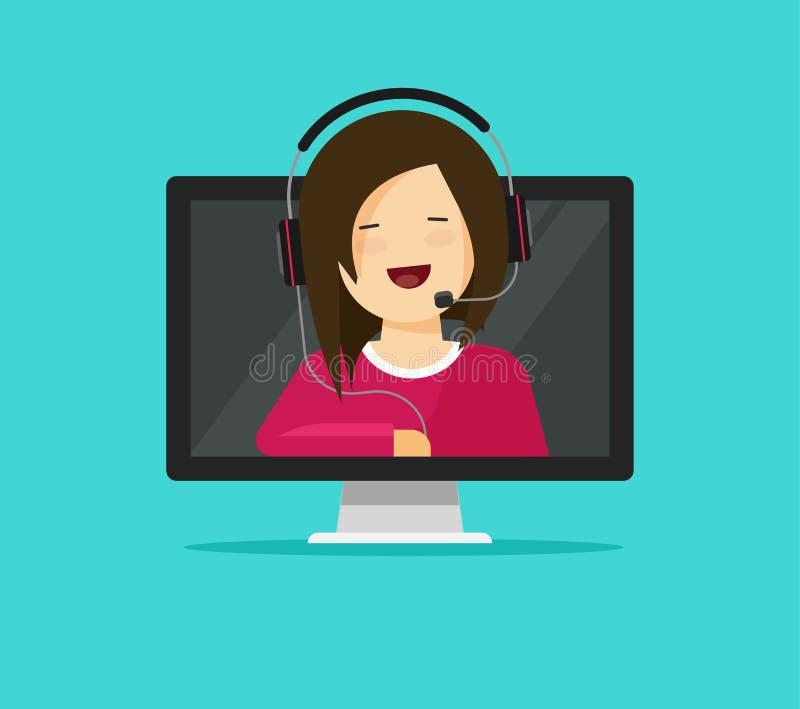 Ejemplo auxiliar del vector de la ayuda en línea, consultor plano de la mujer de la historieta en auriculares que habla del orden stock de ilustración
