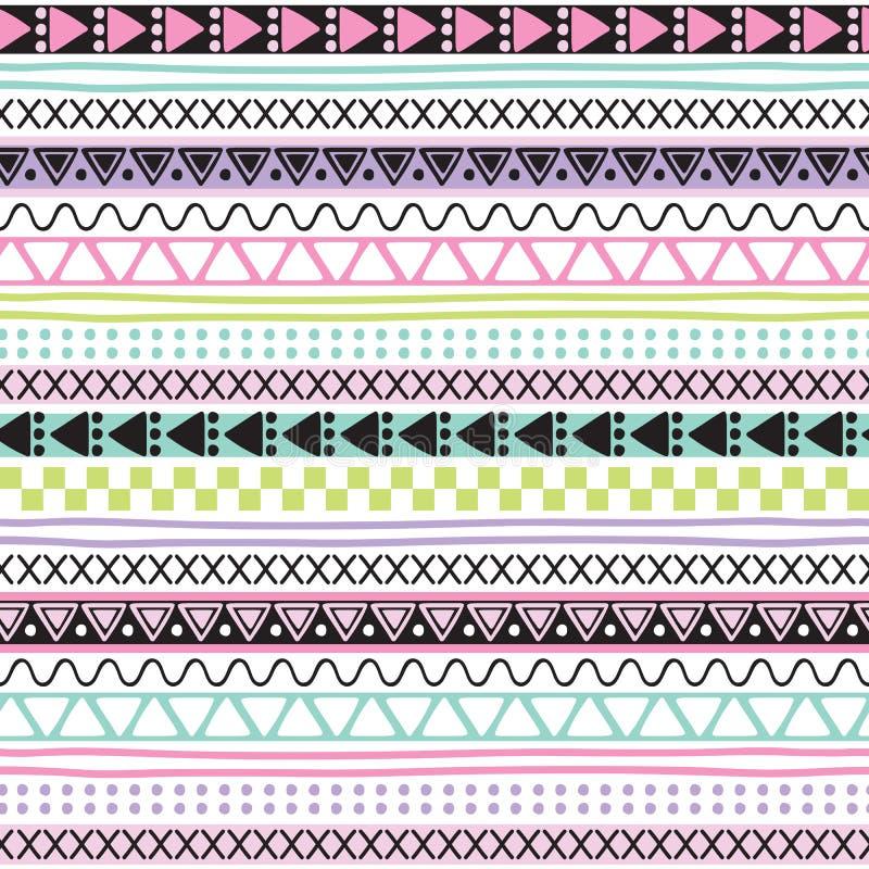 Ejemplo azteca colorido inconsútil del vector del modelo del vintage stock de ilustración