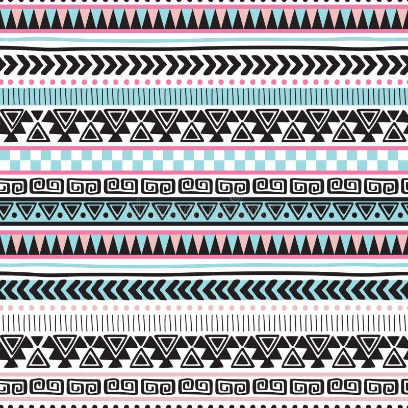Ejemplo azteca colorido inconsútil del vector del modelo del vintage ilustración del vector