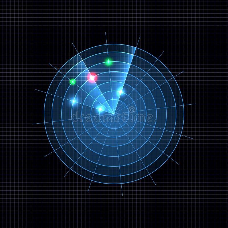 Ejemplo azul de neón del radar del vector, fondo oscuro de la rejilla stock de ilustración