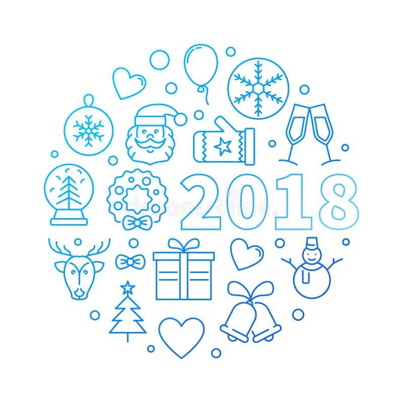 Ejemplo azul del esquema del vector de la Feliz Año Nuevo 2018 stock de ilustración