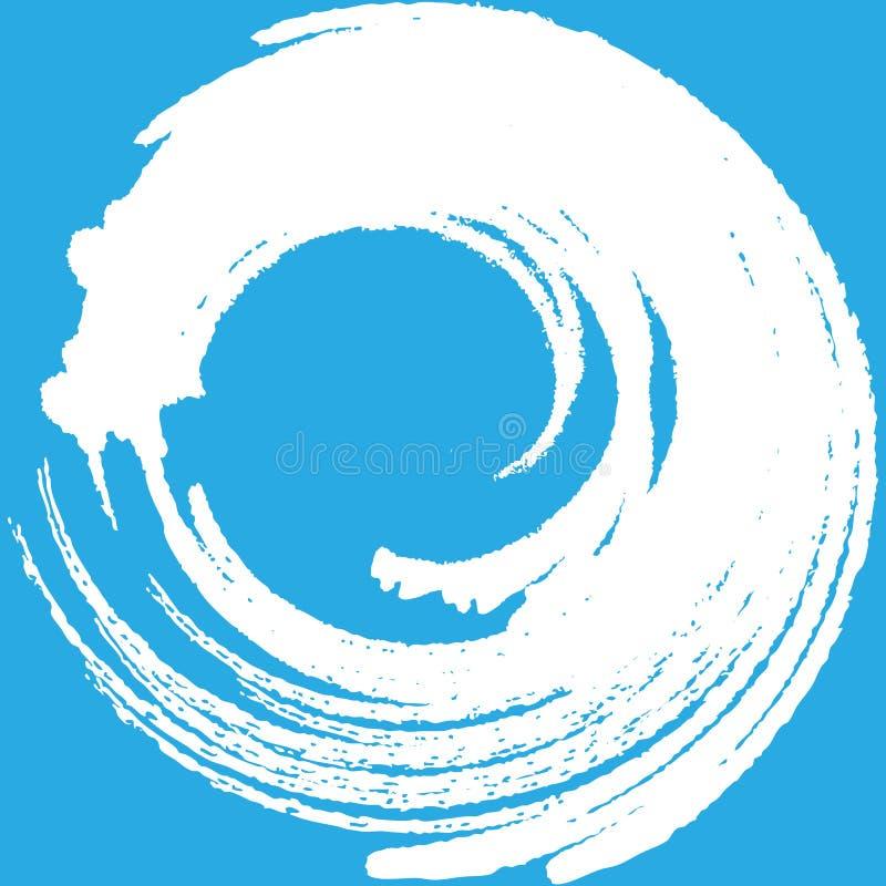 Ejemplo azul del marco del extracto del color forma dibujada mano del círculo del marco del agua ilustración del vector