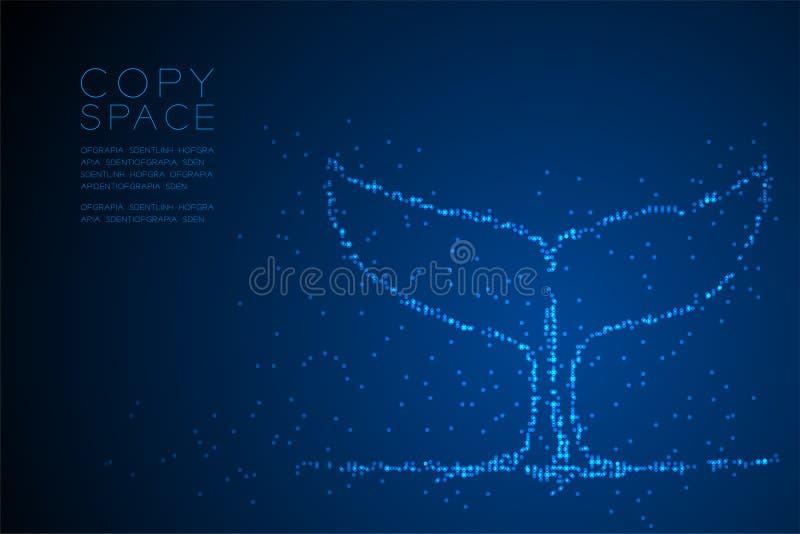 Ejemplo azul geométrico abstracto de la forma, acuático y de la vida marina de la cola de la ballena del modelo del pixel del pun stock de ilustración