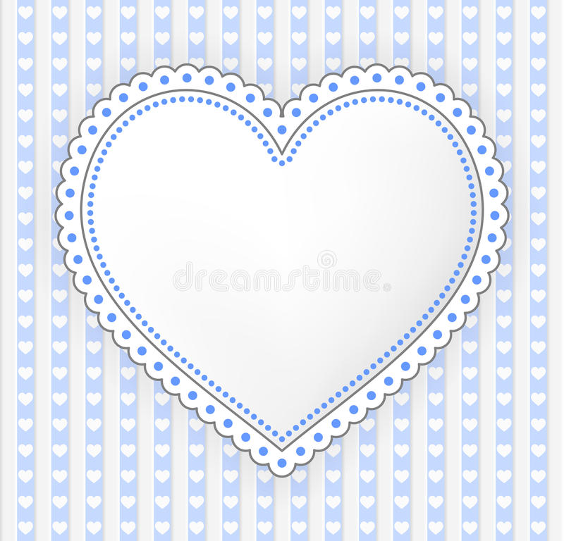 Ejemplo azul-gris adornado de la etiqueta del corazón ilustración del vector