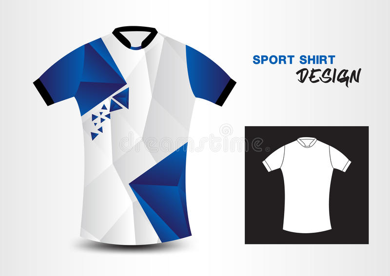 Ejemplo azul y blanco del vector del polígono del diseño de la camisa de deporte stock de ilustración