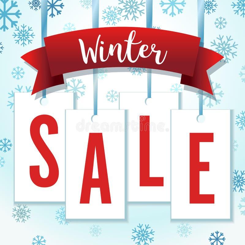 Ejemplo azul y rojo del vector de Hang Tag Snowflakes Winter Sale ilustración del vector