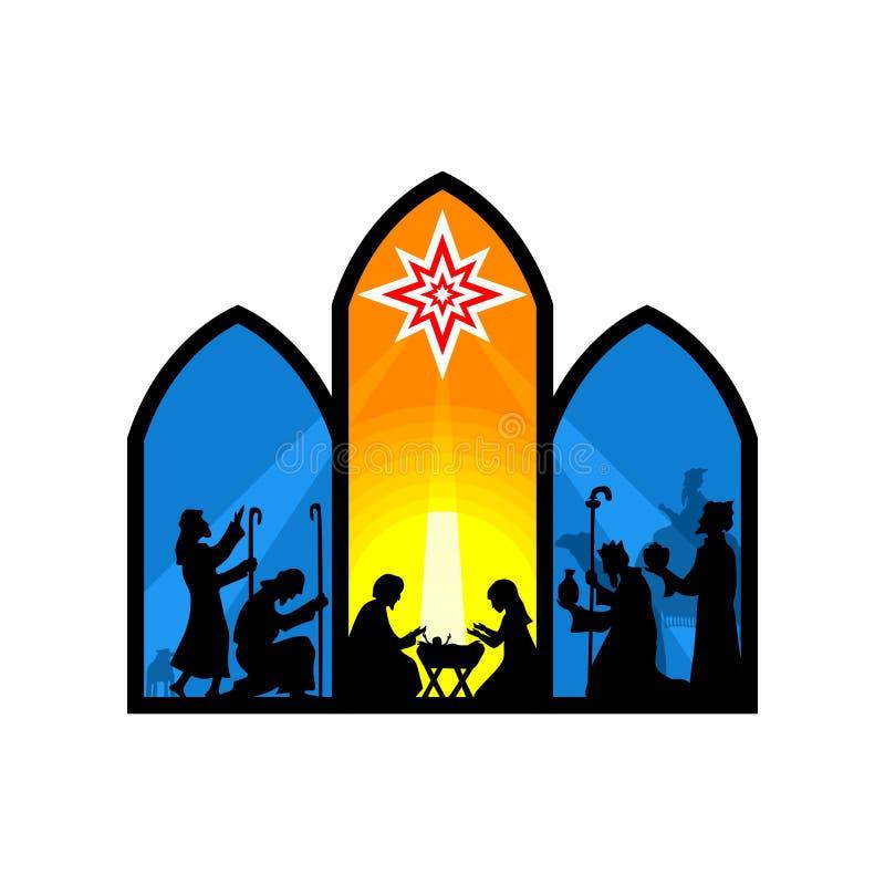 Ejemplo bíblico Historia de la Navidad Maria y José con el bebé Jesús Escena de la natividad cerca de la ciudad de Belén stock de ilustración