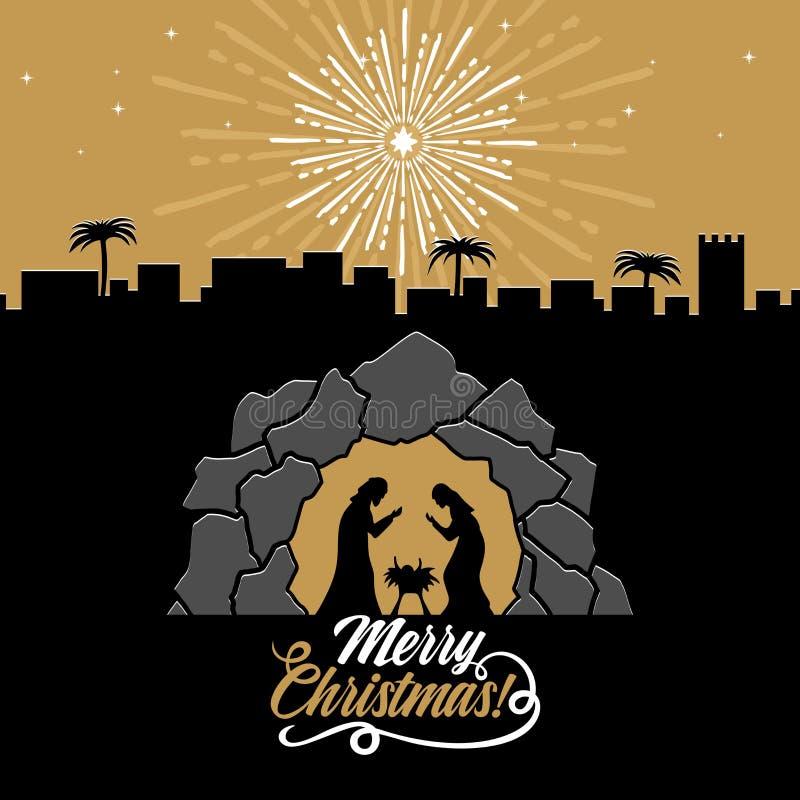 Ejemplo bíblico Historia de la Navidad Maria y José con el bebé Jesús Escena de la natividad cerca de la ciudad de Belén ilustración del vector