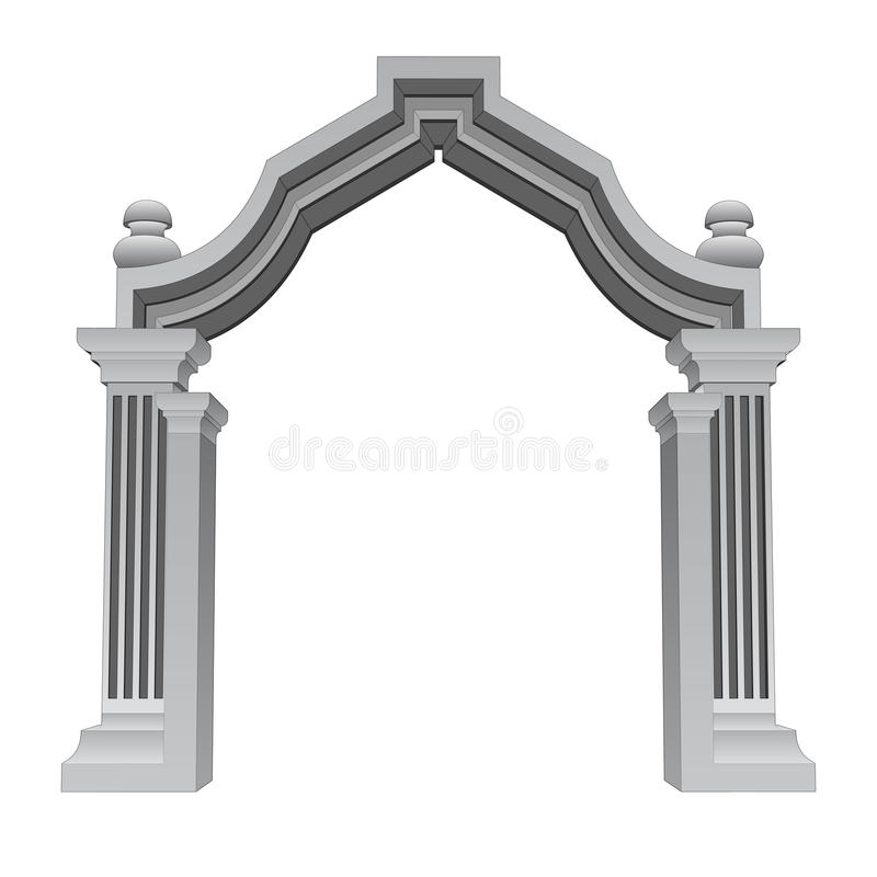 Vector barroco de piedra de mármol del marco de la puerta de la entrada ilustración del vector