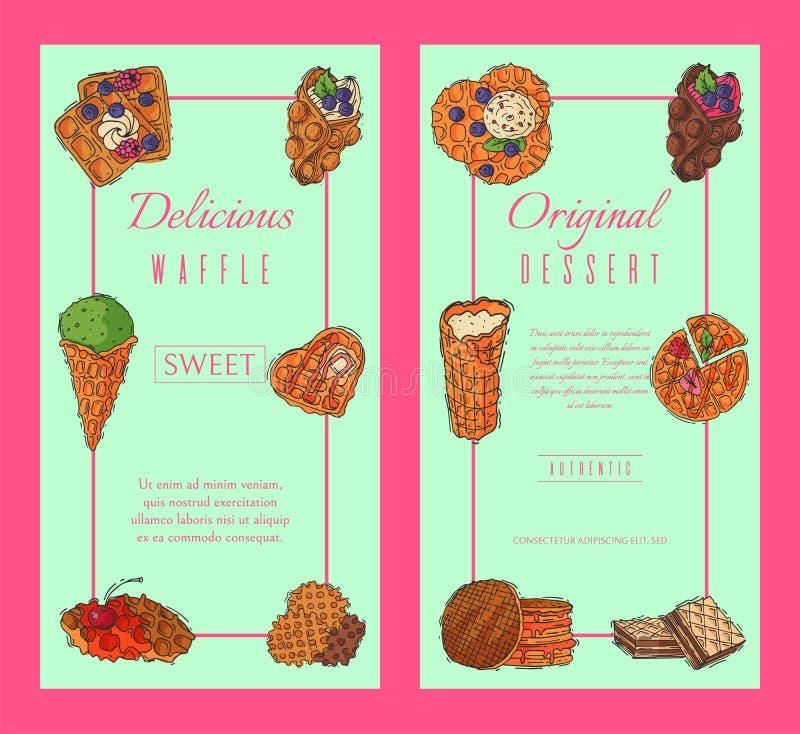 Ejemplo belga del vector del cartel de la galleta del postre de la oblea de la bandera del chocolate del sabor curruscante de la  ilustración del vector