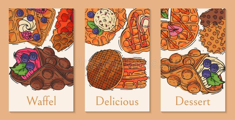 Ejemplo belga del vector del cartel de la galleta del postre de la oblea de las tarjetas del chocolate del sabor curruscante de l ilustración del vector
