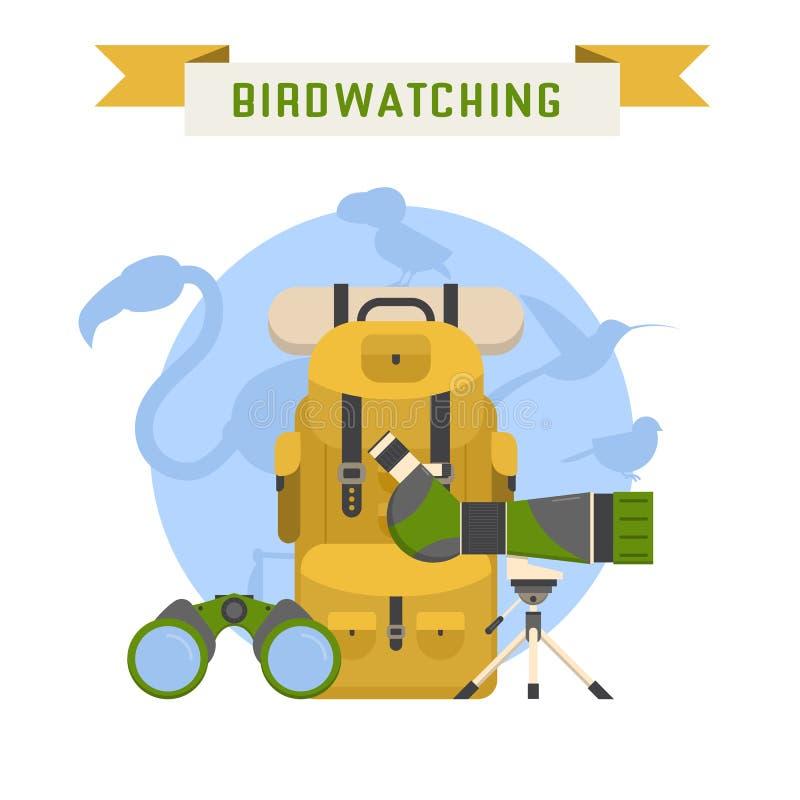 Ejemplo Birdwatching del vector del concepto del turismo ilustración del vector