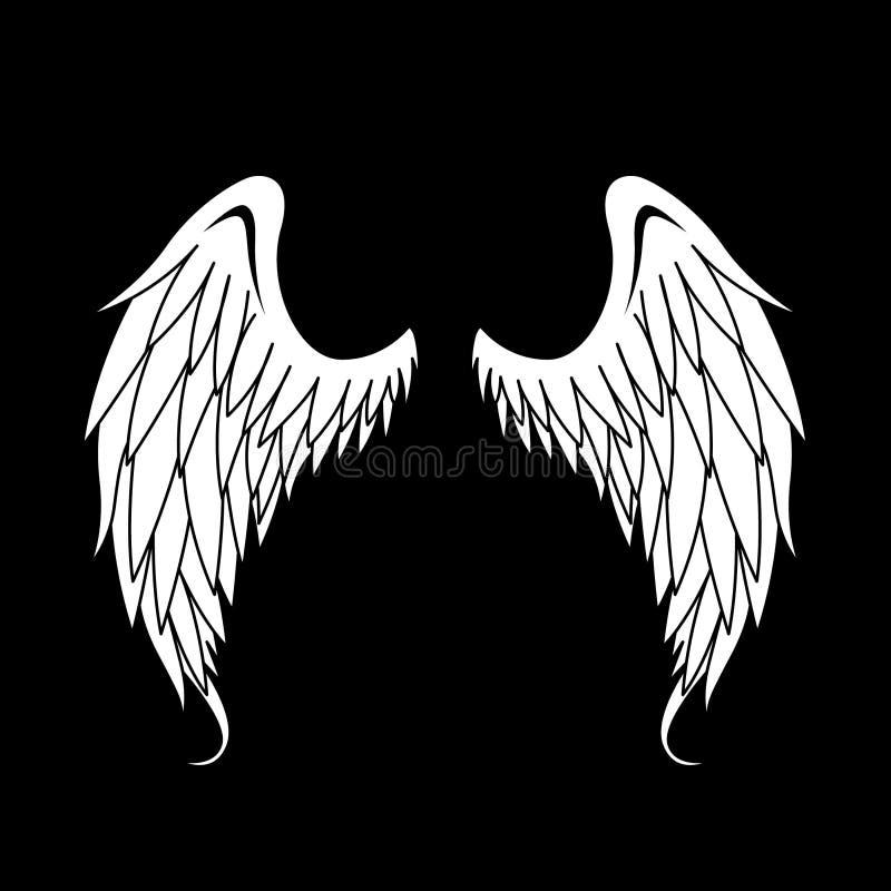 Ejemplo blanco de Angel Wings Vector imágenes de archivo libres de regalías