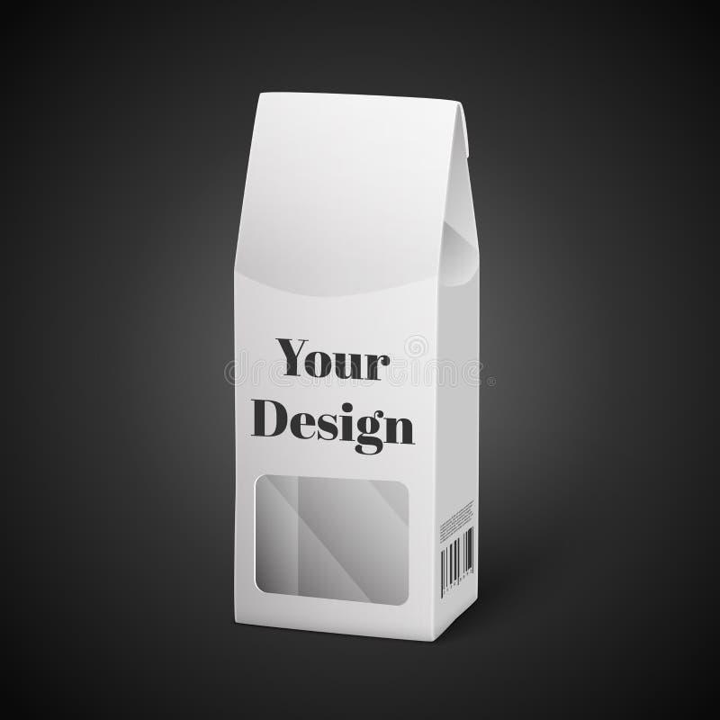 Ejemplo blanco de la caja del paquete aislado en negro stock de ilustración
